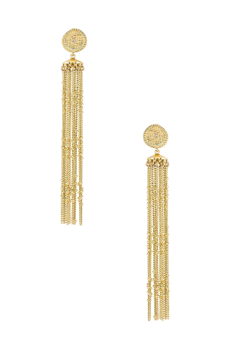 Luv AJ Pave Coin Fringe Earrings in Gold