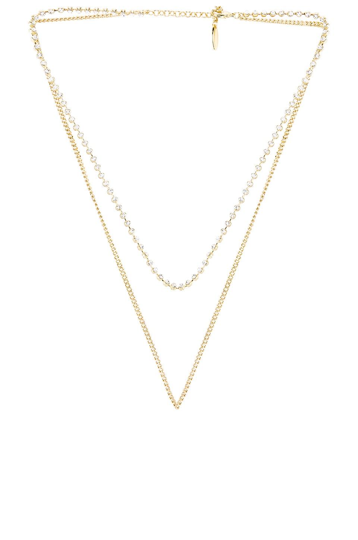 Luv AJ Diamonte Chain Charm Necklace in Gold