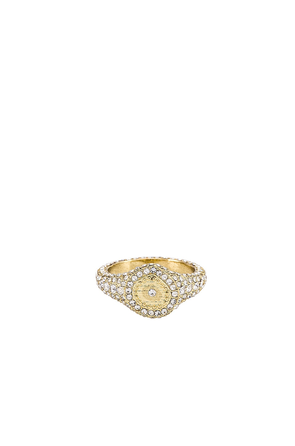 Luv AJ Pave Coin Signet Ring in Gold
