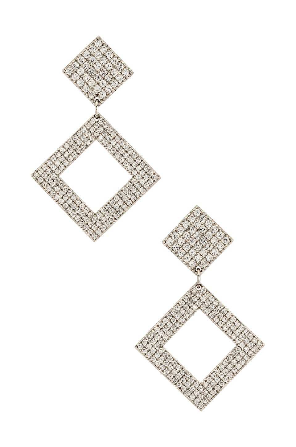 Luv AJ The Pave Princess Earrings in Silver