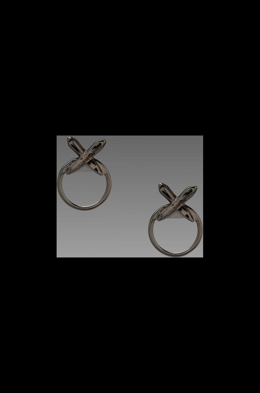 Luv AJ The Crystal Cross Statement Earrings in Shiny Black
