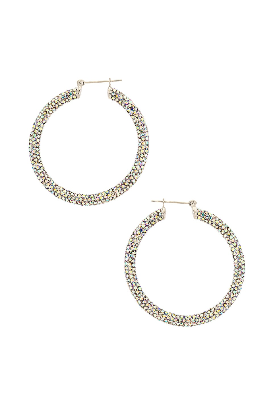Luv AJ The Pave Amalfi Hoops in Rainbow & Silver