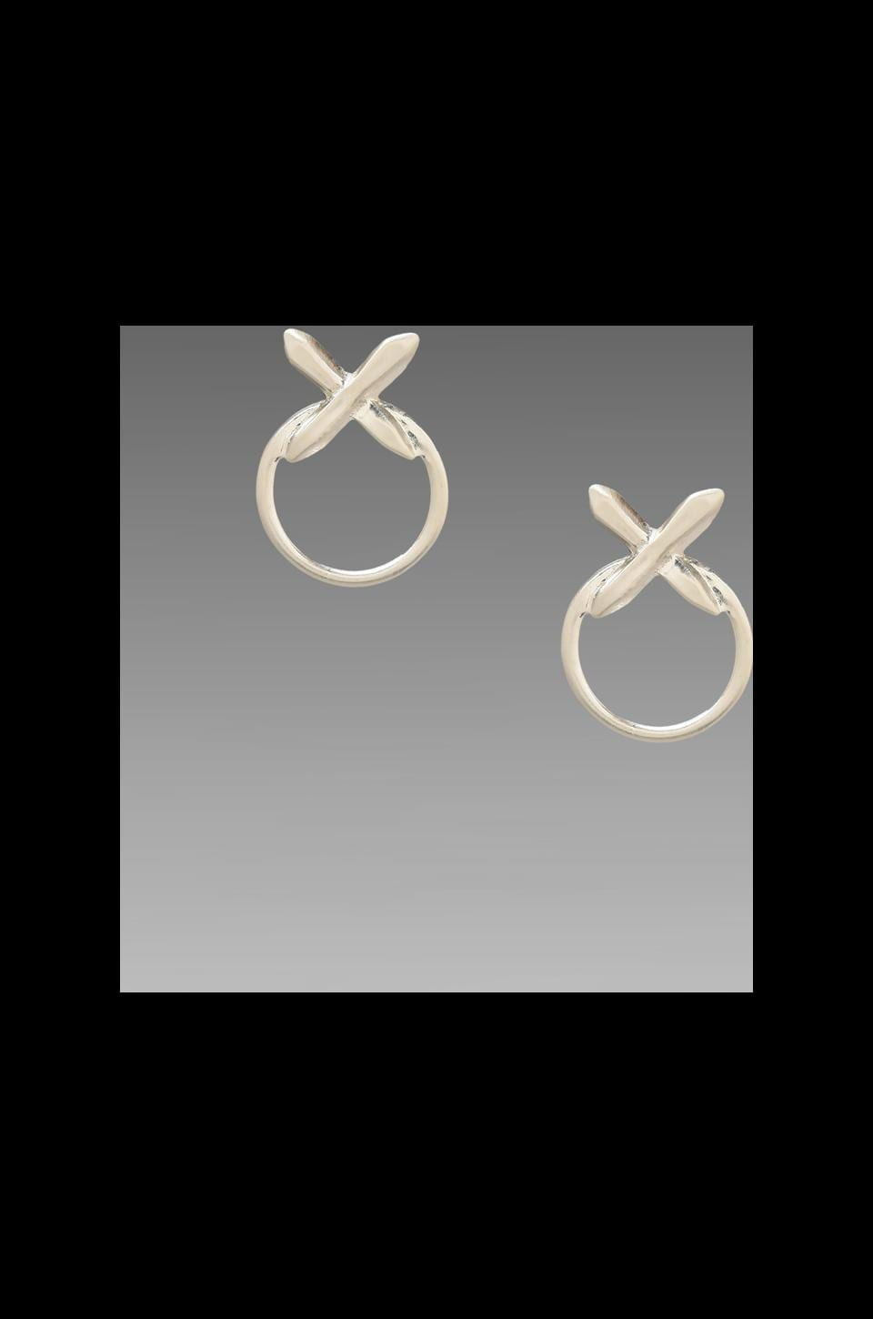 Luv AJ The Crystal Cross Statement Earrings in Brushed Silver