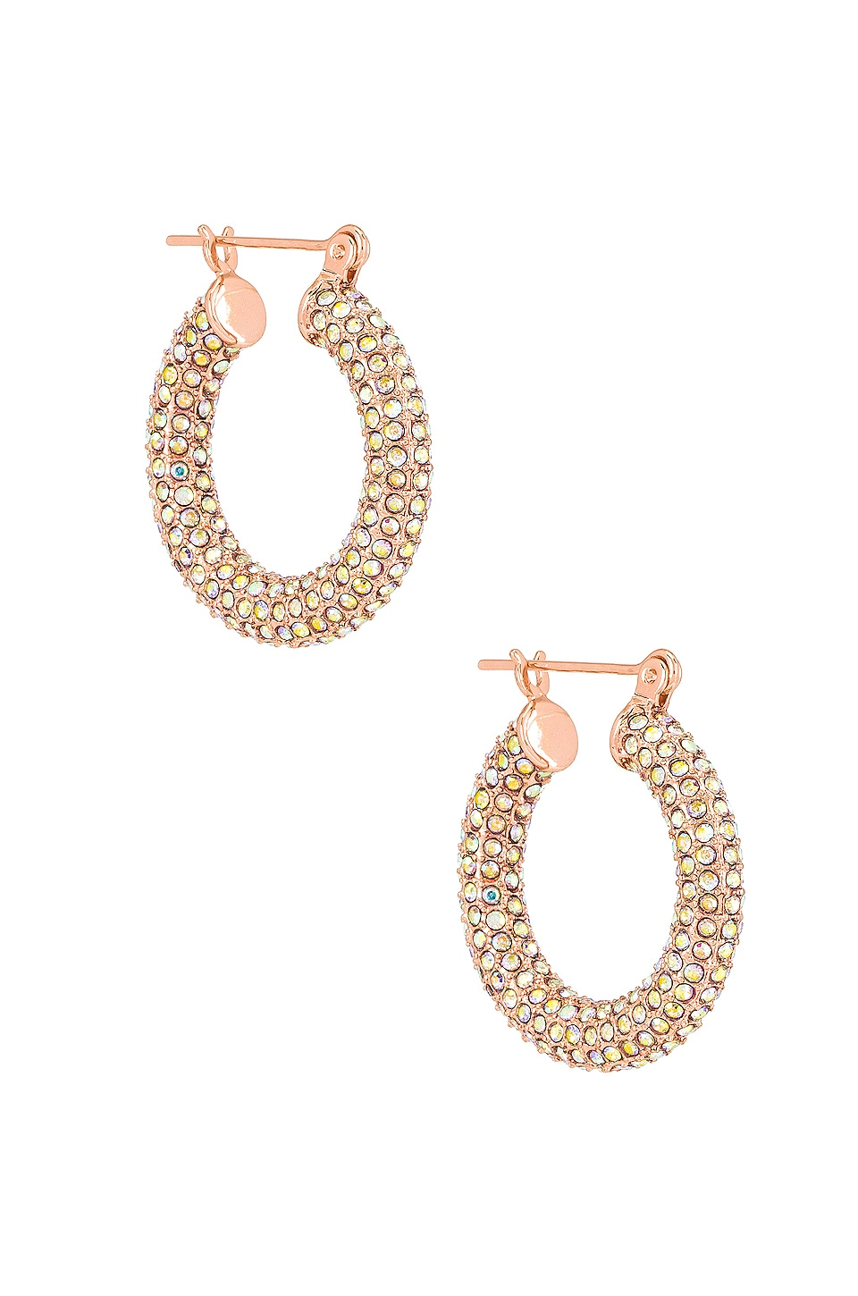 Luv AJ The Pave Baby Amalfi Hoops in Rainbow & Rose Gold