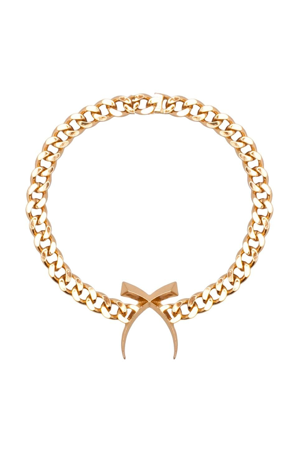 Luv AJ The Cross Tusk Necklace in Gold