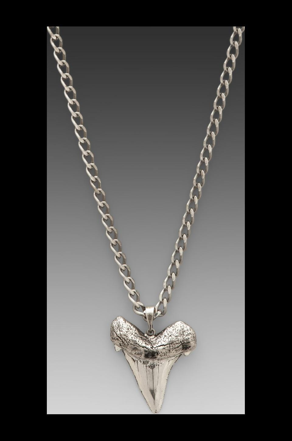 Luv AJ Oversized Shark Tooth Long Necklace in Antique Silver/Nickel