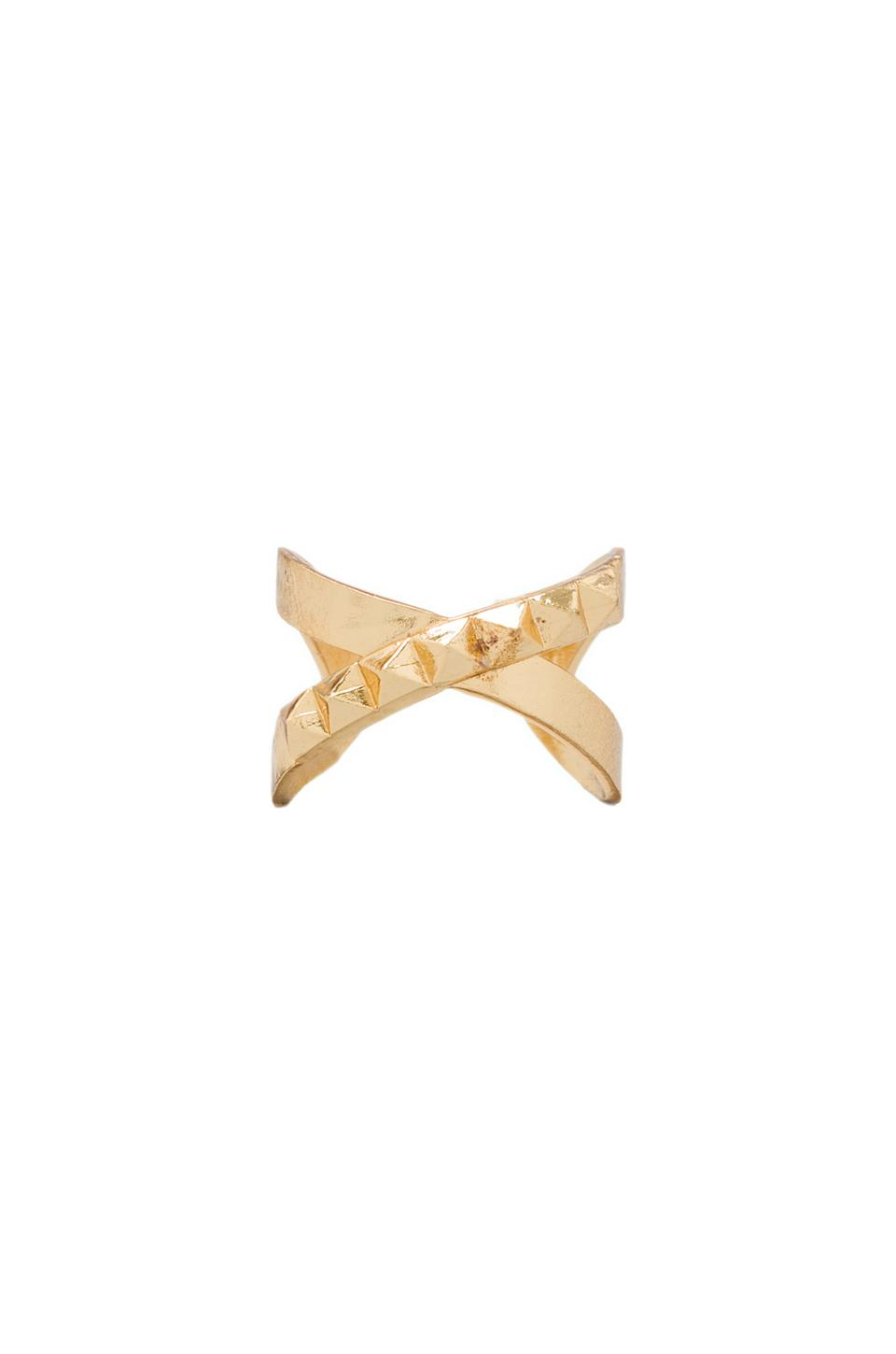Luv AJ The Criss Cross Punk Stud Ring in Gold