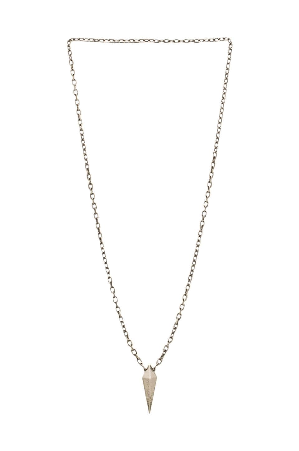 Luv AJ The Long Spike Charm Necklace in Antique Nickel