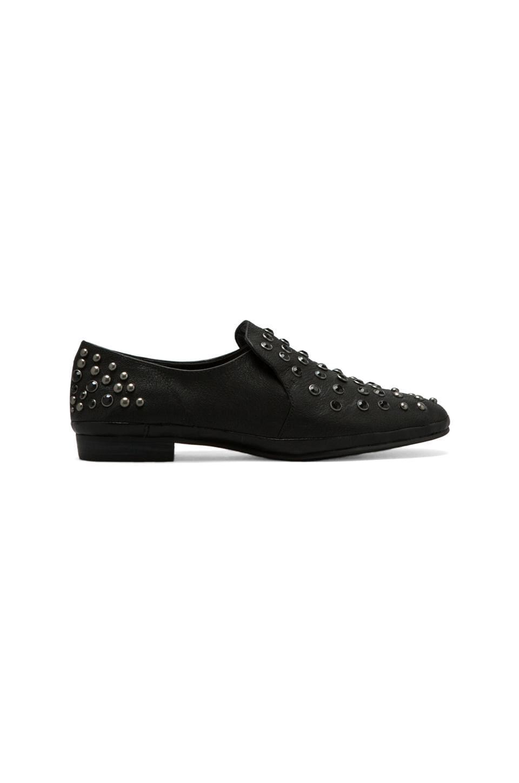 Luxury Rebel Prep Studded Flat in Black