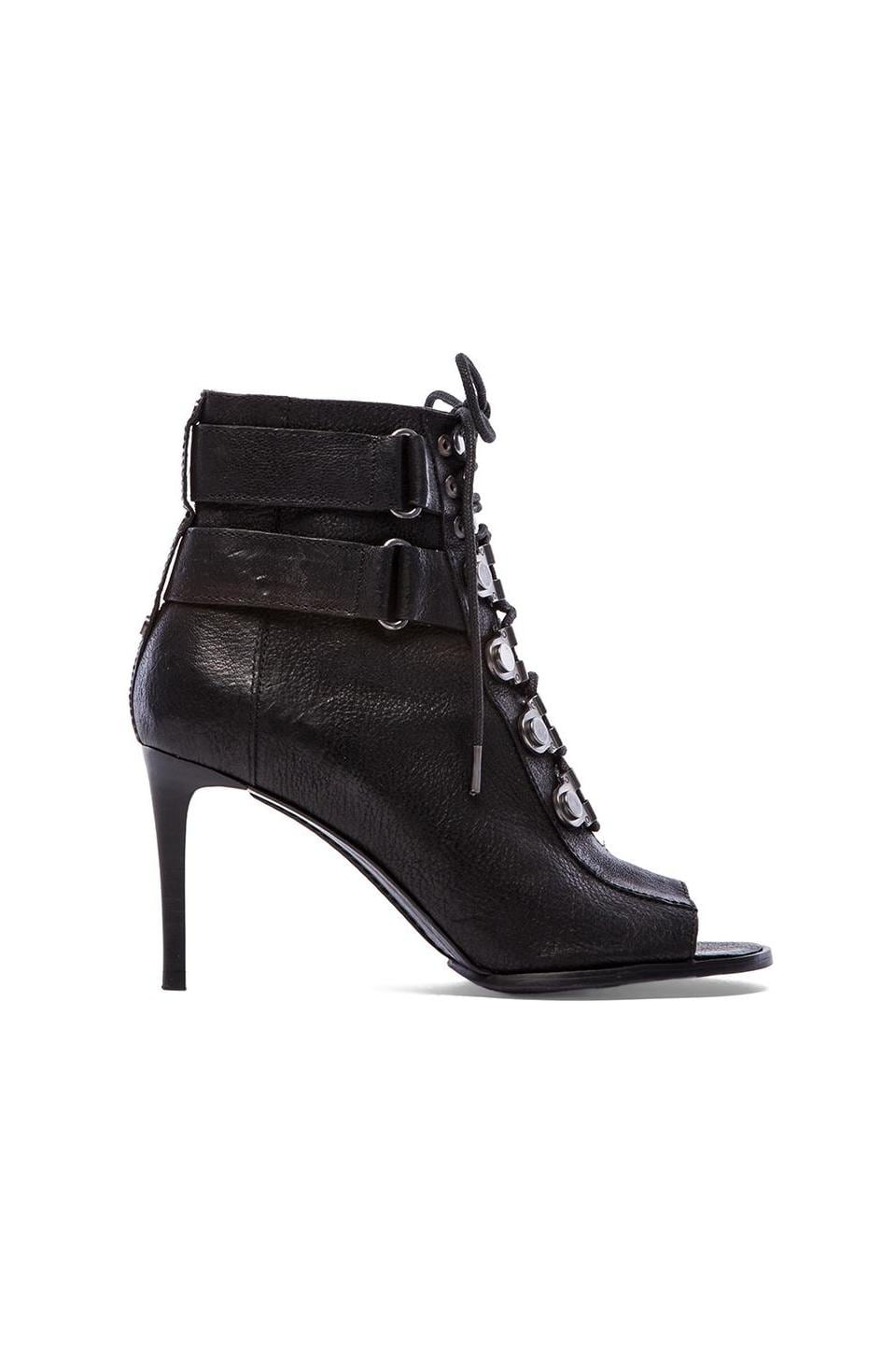 Luxury Rebel Cara Lace Up Open Toe Booties in Black