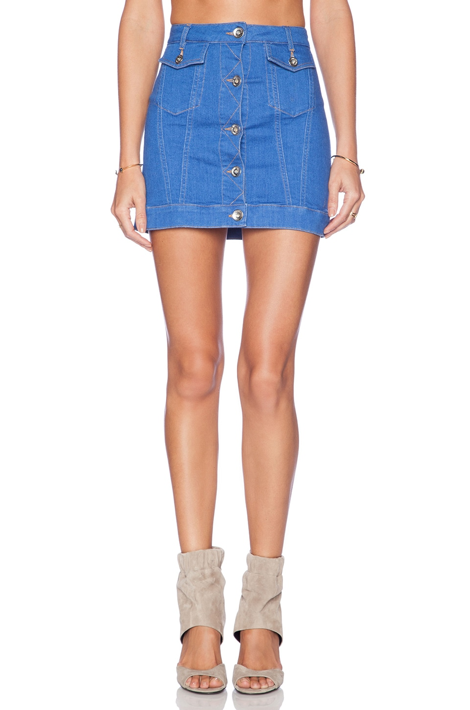 Love Moschino Denim Mini Skirt in Medium Blue