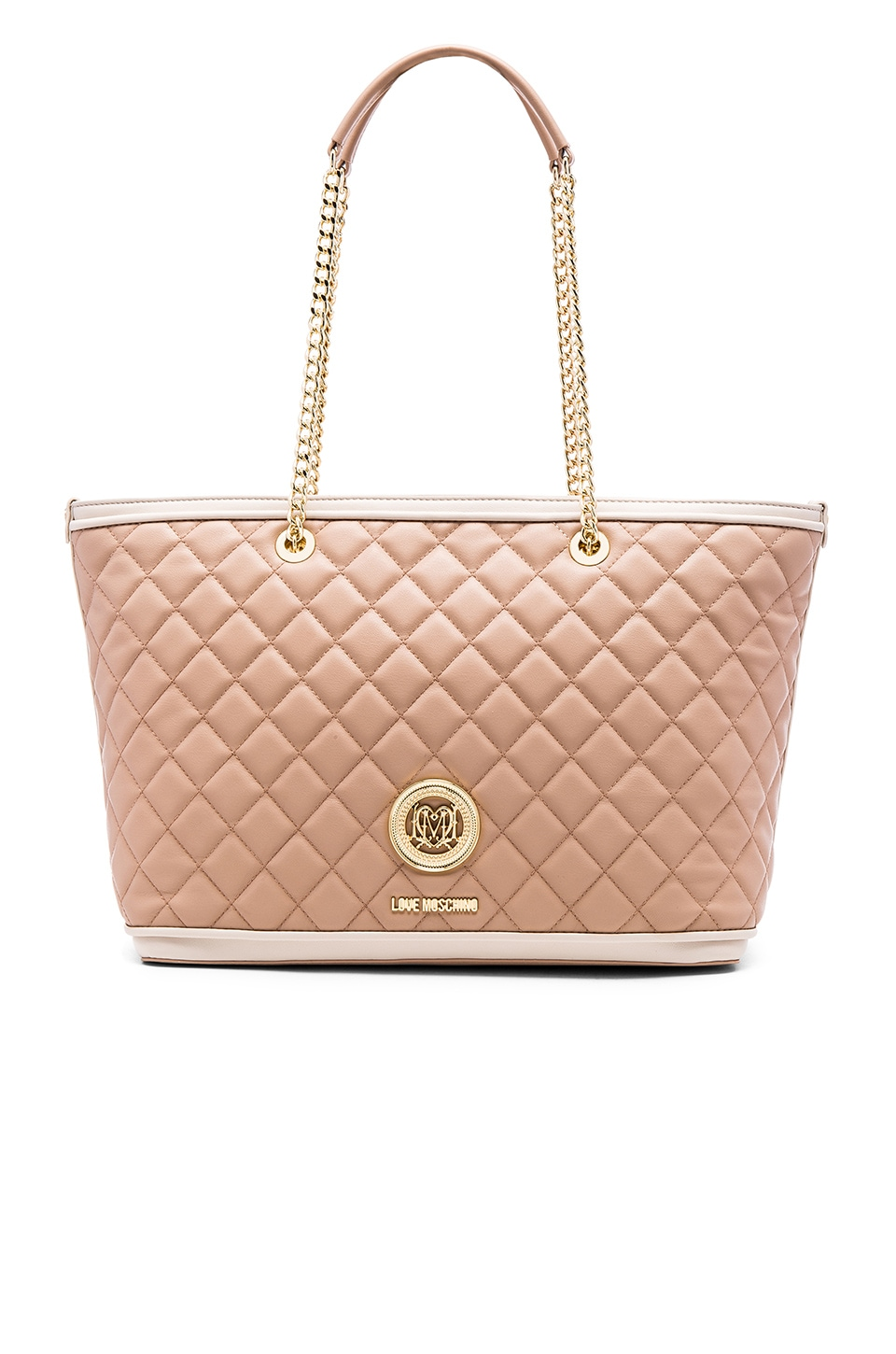 Love Moschino Superquilted Tote in Pink & Ivory