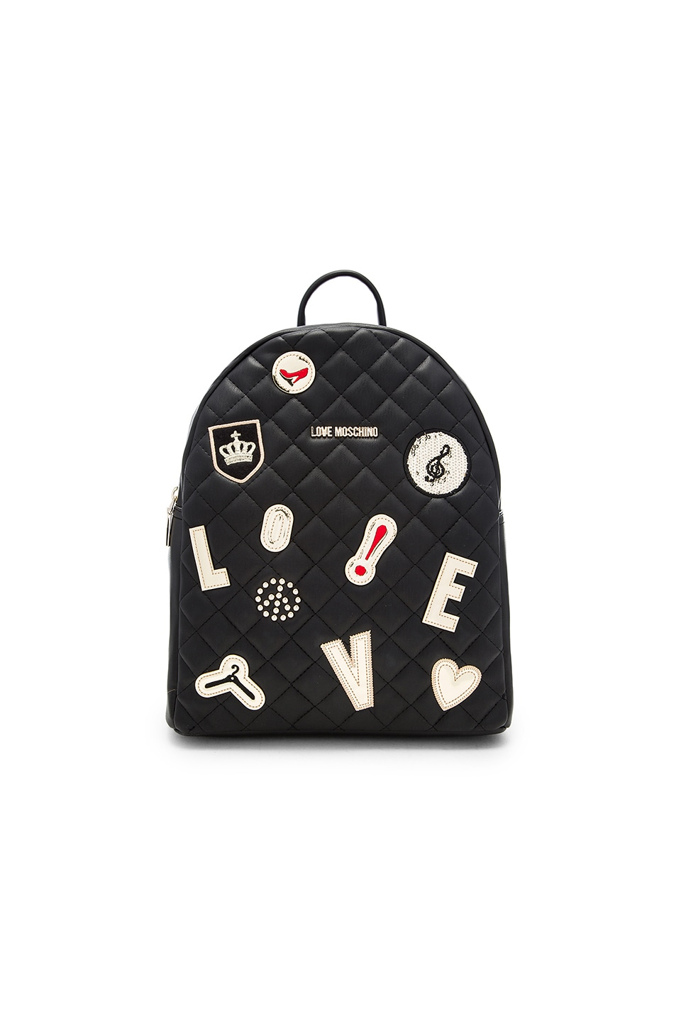 Love Moschino Patch Quilted Backpack in Black