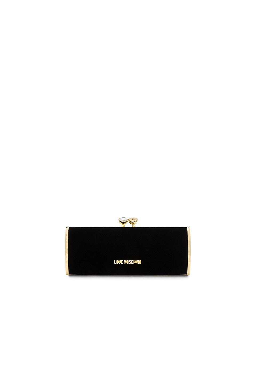 Love Moschino Velvet Clutch in Black