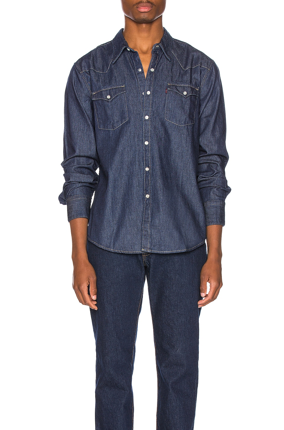 LEVI'S Premium Barstow Western Shirt in Red Cast Rinse