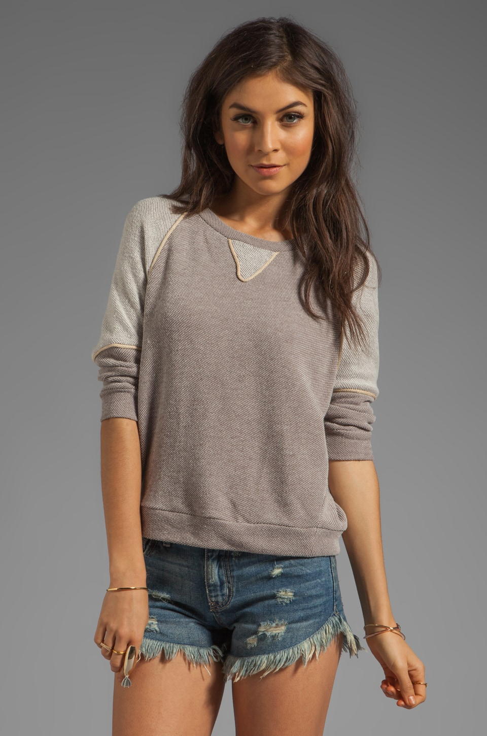 Love Zooey Dolman Top in Storm Cloud