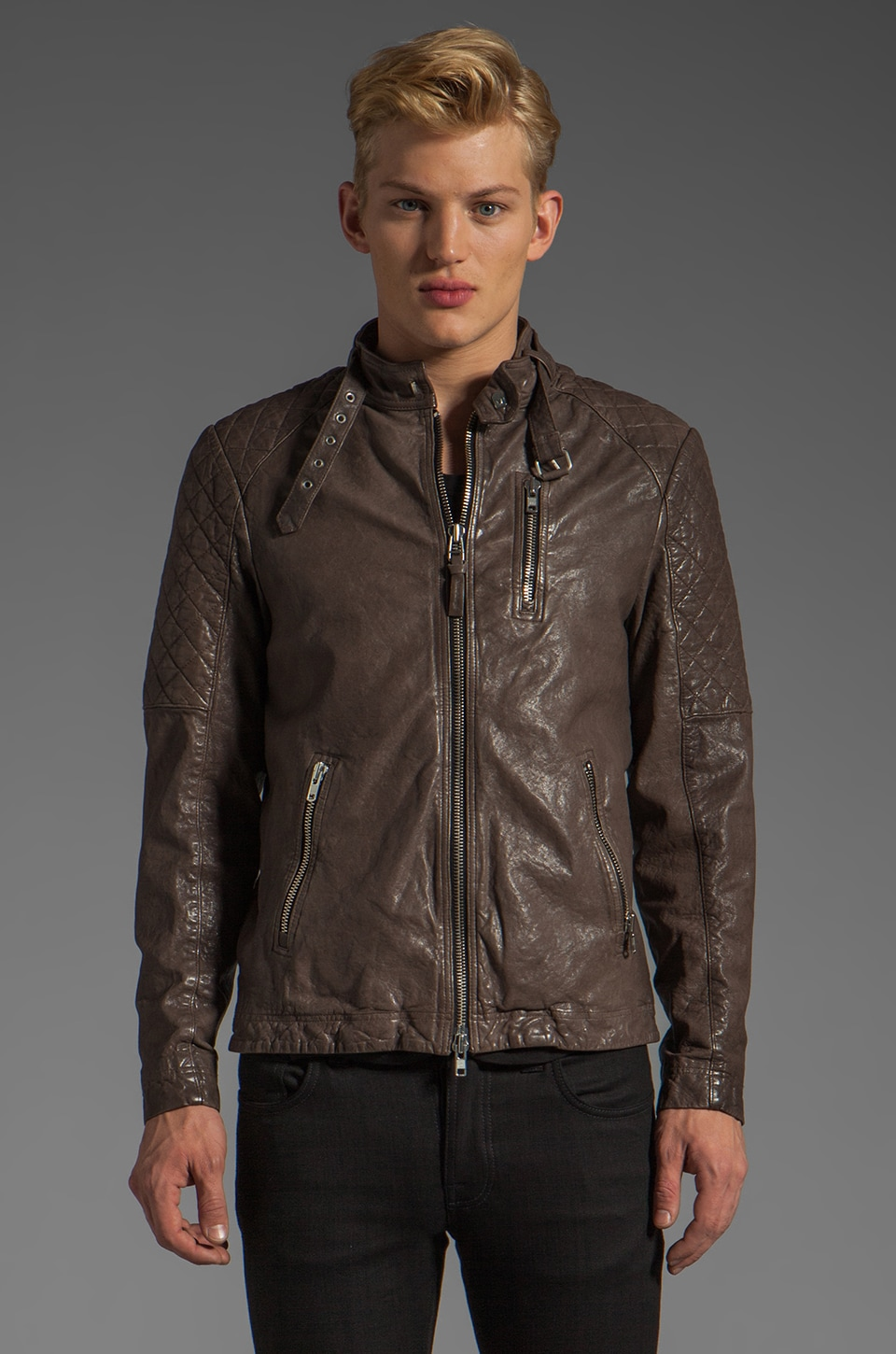 Mackage Mateo-C Leather Jacket in Light Grey
