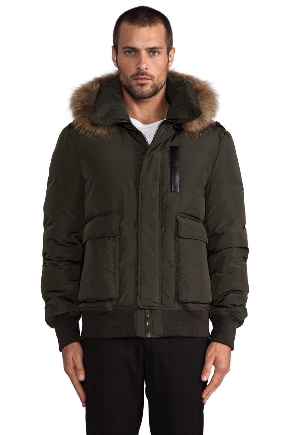 Mackage Diego Bomber Jacket w/ Fur Lined Hood in Army