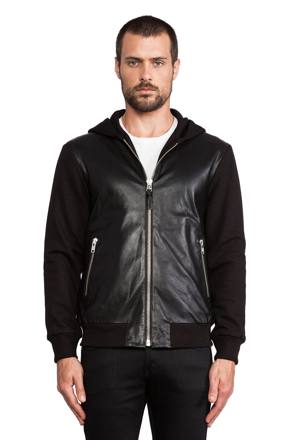 Mackage Elvin Leather Hoodie in Black