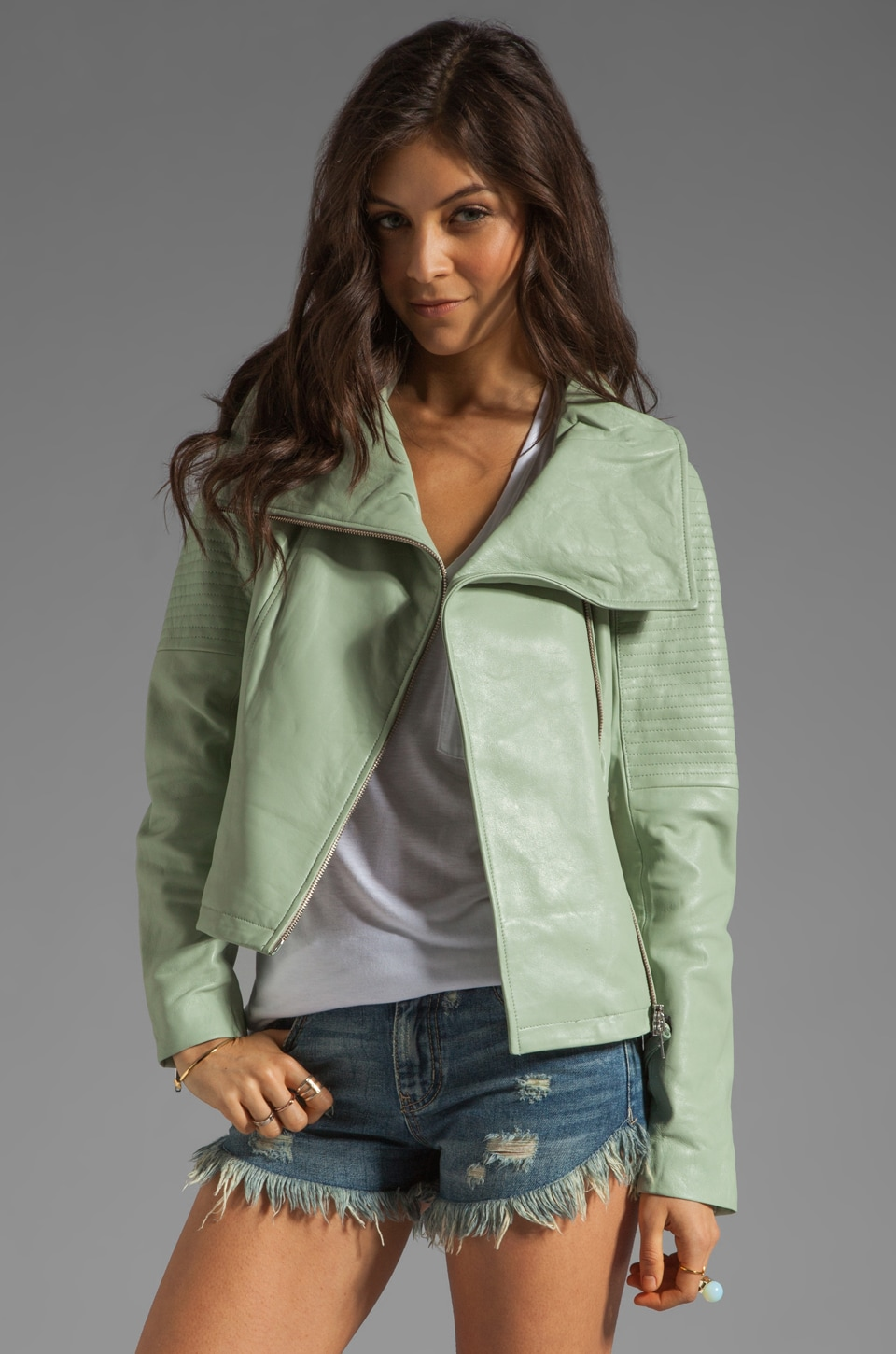 Mackage Gabby Classic Leather Jacket in Mint