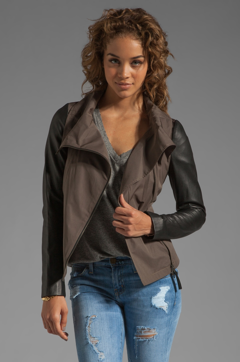 Mackage Lindsay Pop Trench Jacket in Gunmetal