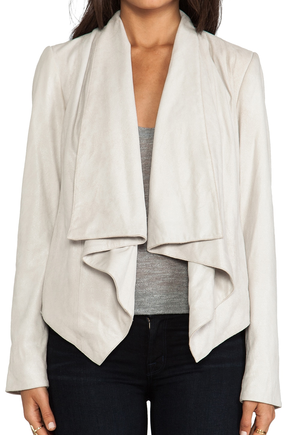 Mackage Rihane Shiny Suede Jacket in Bone