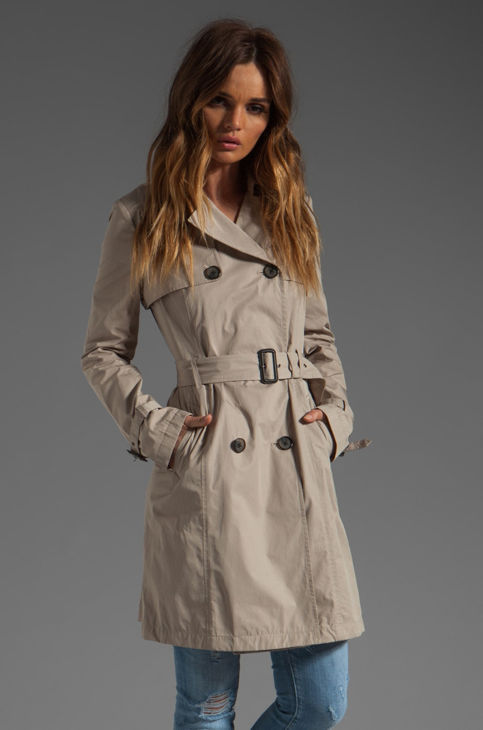 Mackage Louise Pop Trench Jacket in Sand