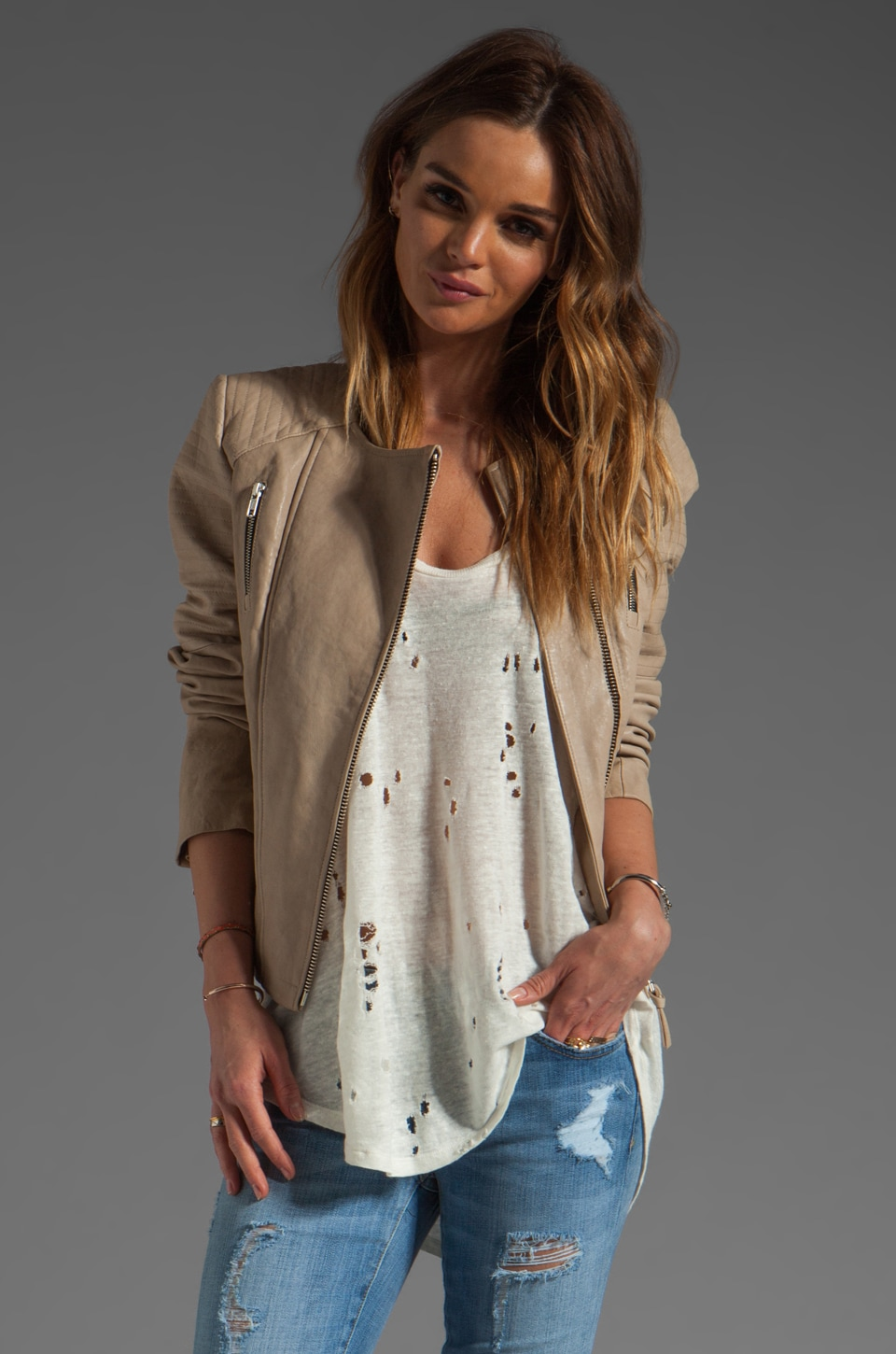 Mackage Brooklyn Distressed Leather Jacket in Sand