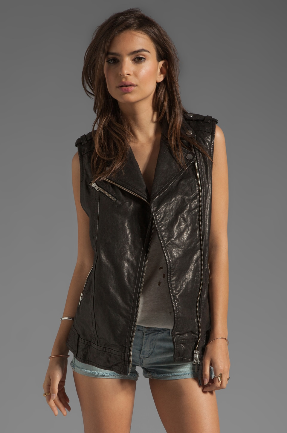 Mackage Frederica Distressed Leather Vest in Black
