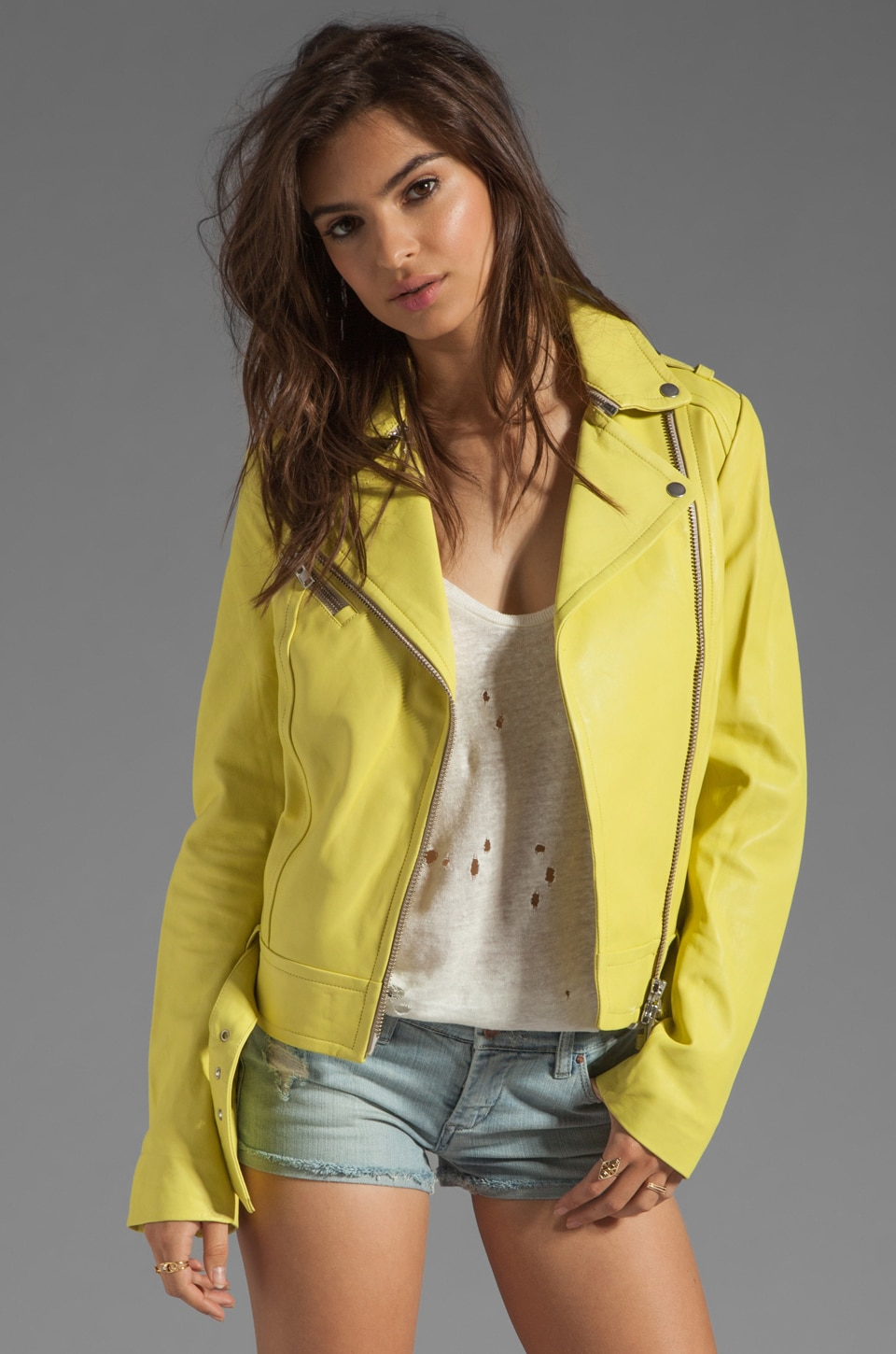 Mackage Hidi Distressed Leather Jacket in Neon Yellow