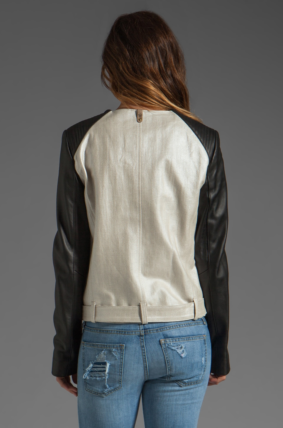 Mackage Belle Distressed Leather Jacket in Bone