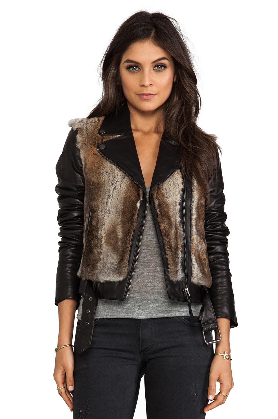 Mackage Tamika Rabbit/Leather Jacket in Natural