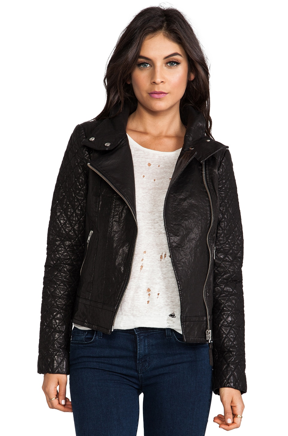 Mackage Jimmie Distressed Leather Jacket in Black