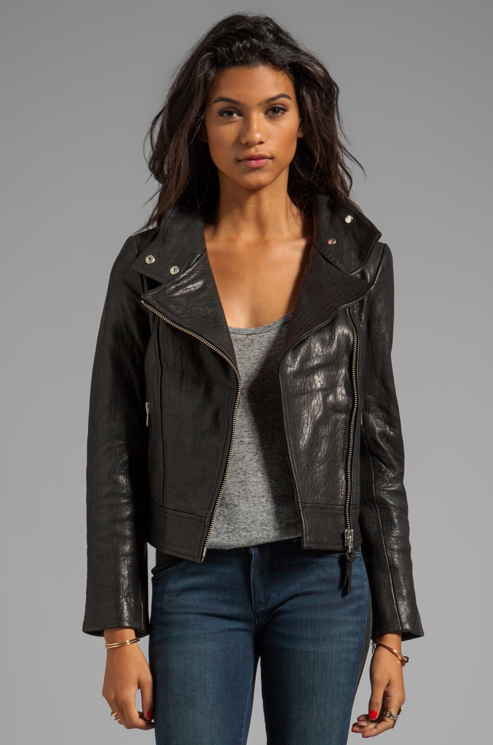 Mackage Lisa Pebble Leather Jacket in Black