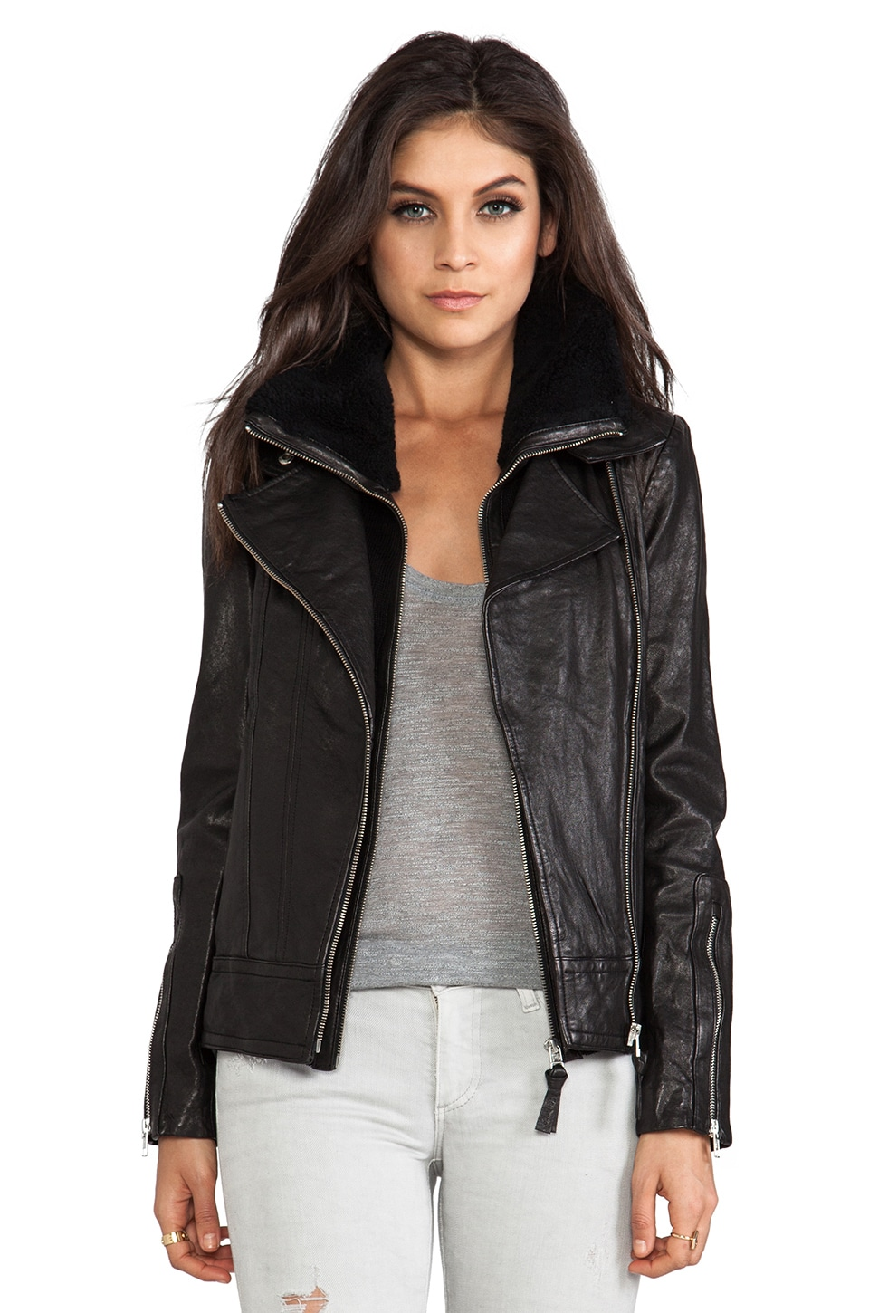 Mackage Veruca Distressed Leather Jacket in Black