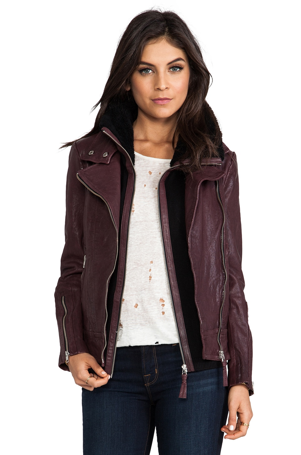 Mackage Veruca Distressed Leather Jacket in Merlot