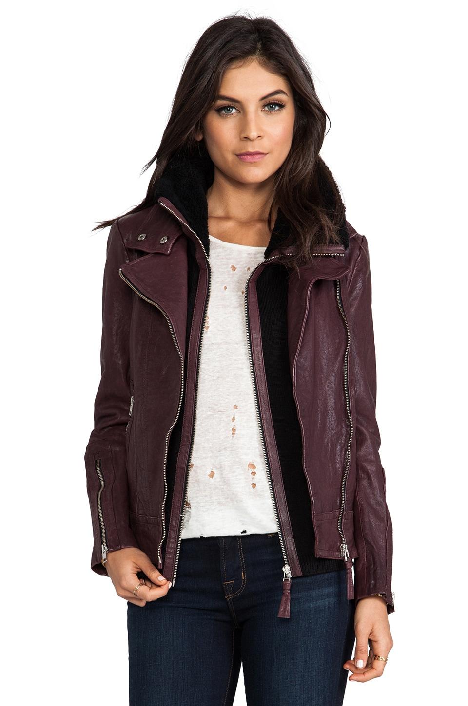 Mackage Veruca Distressed Leather Jacket in Merlot