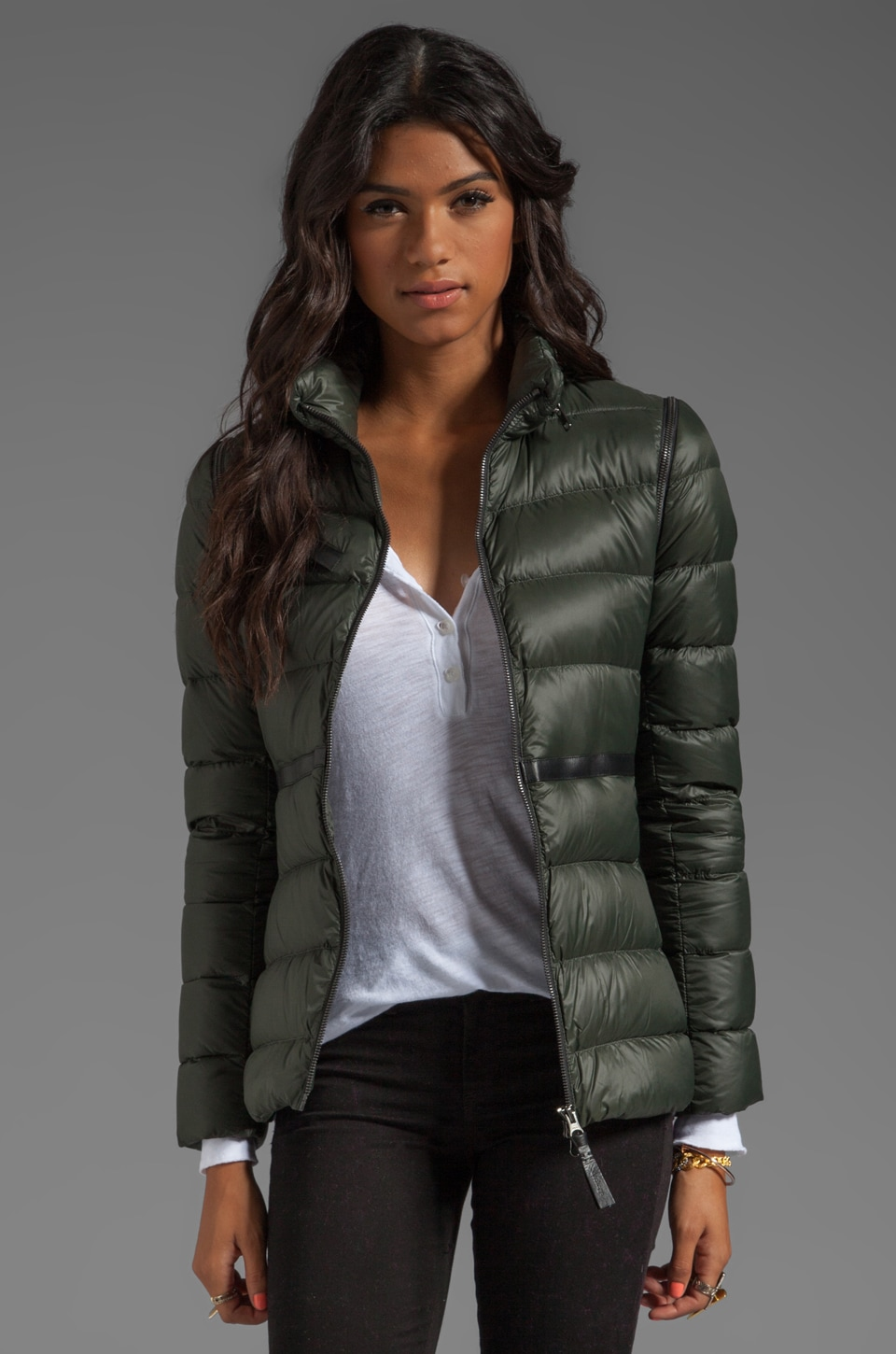 Mackage Irma Light Weight Down Jacket in Army