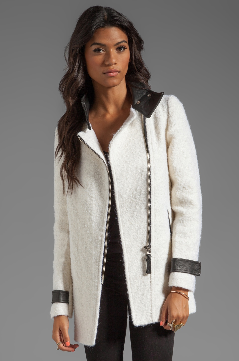 Mackage Kitty Novelty Boucle Wool Coat in Off White