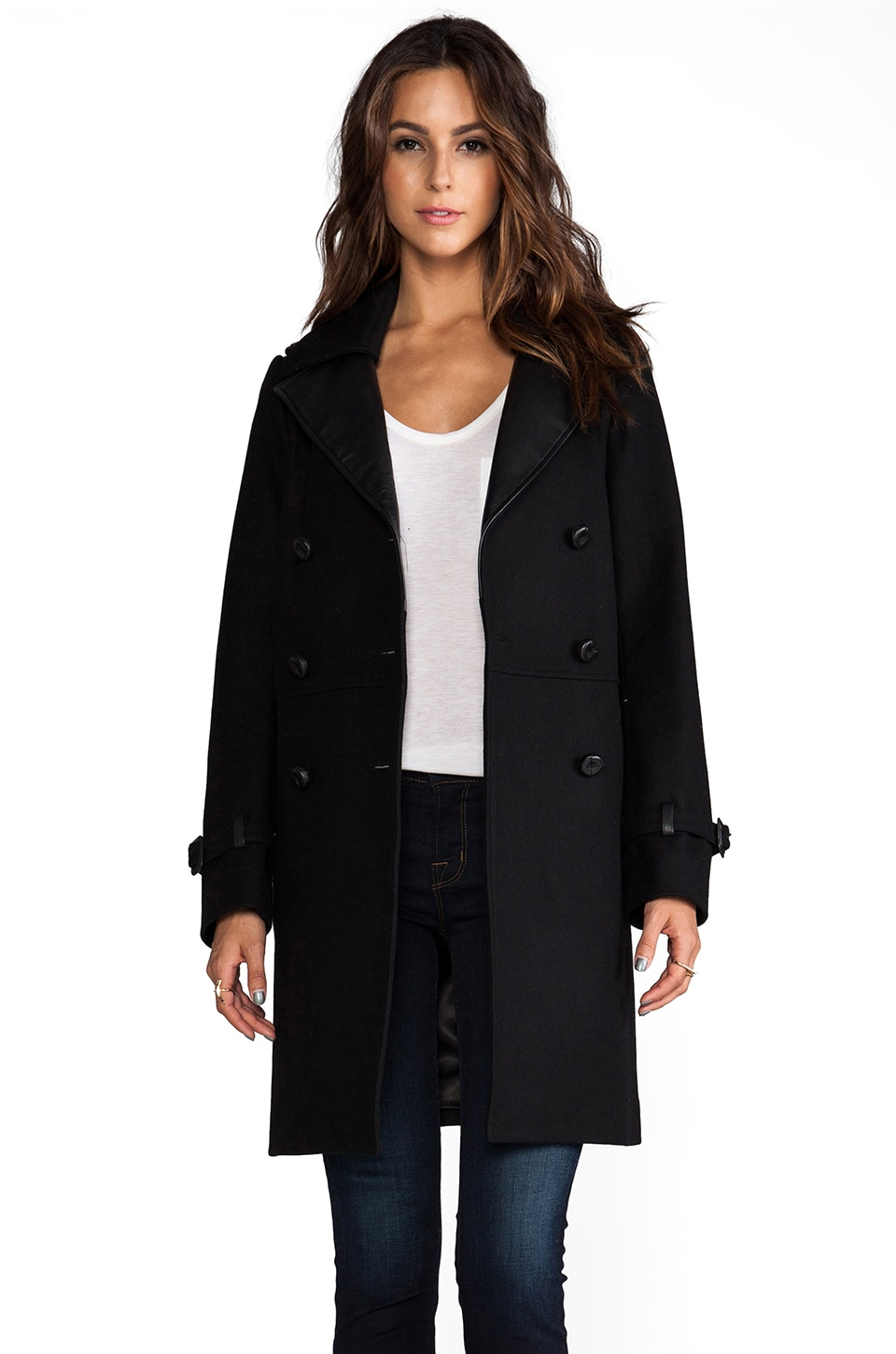 Mackage Juniper Flat Wool Coat in Black