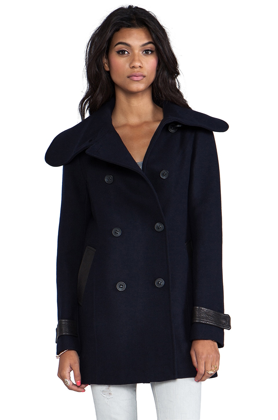 Mackage Patricia Flat Wool Coat in Navy
