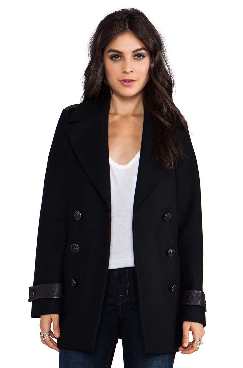 Mackage Samantha Flat Wool Coat in Black