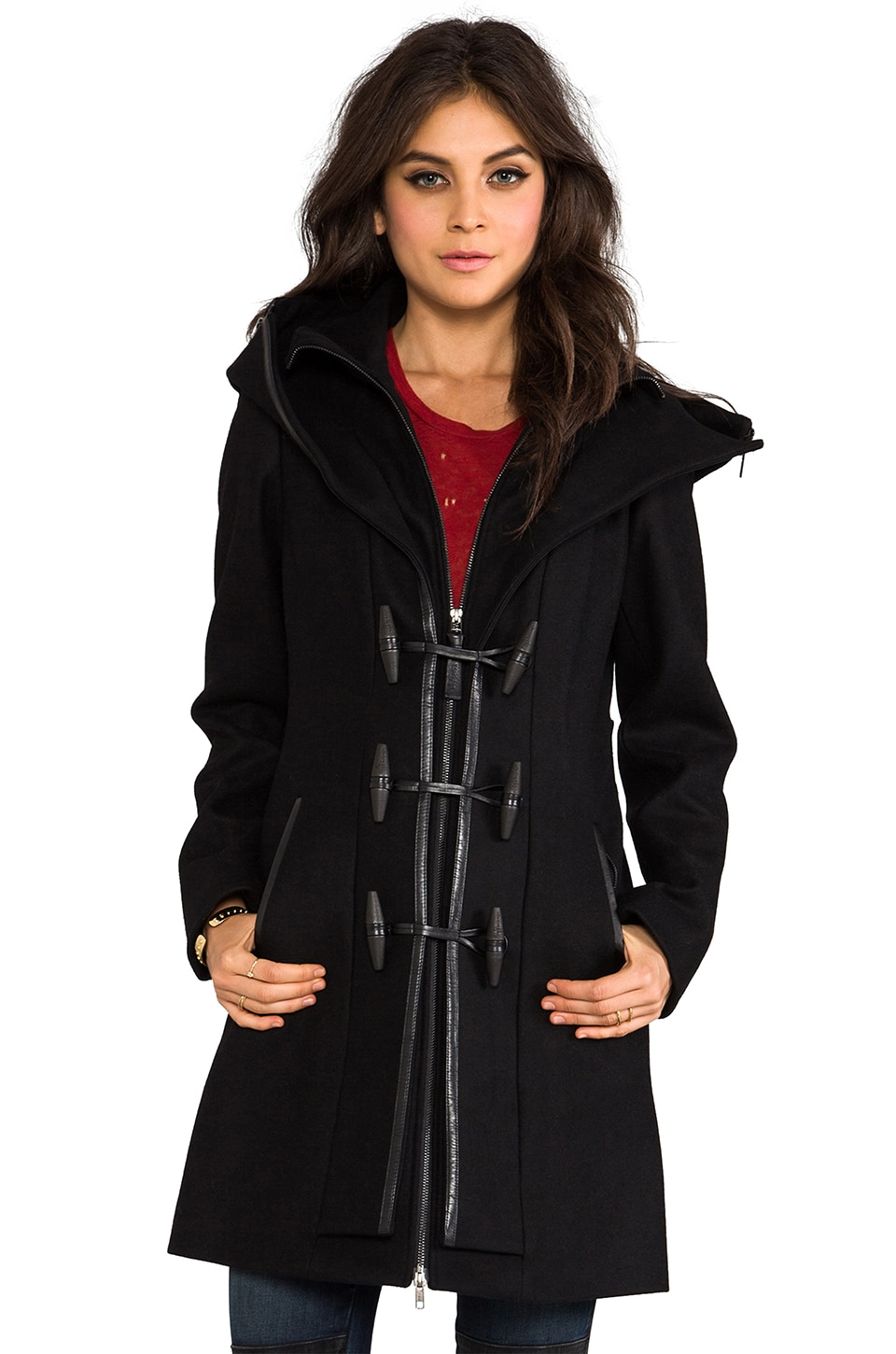 Mackage Steffy Flat Wool Coat in Black