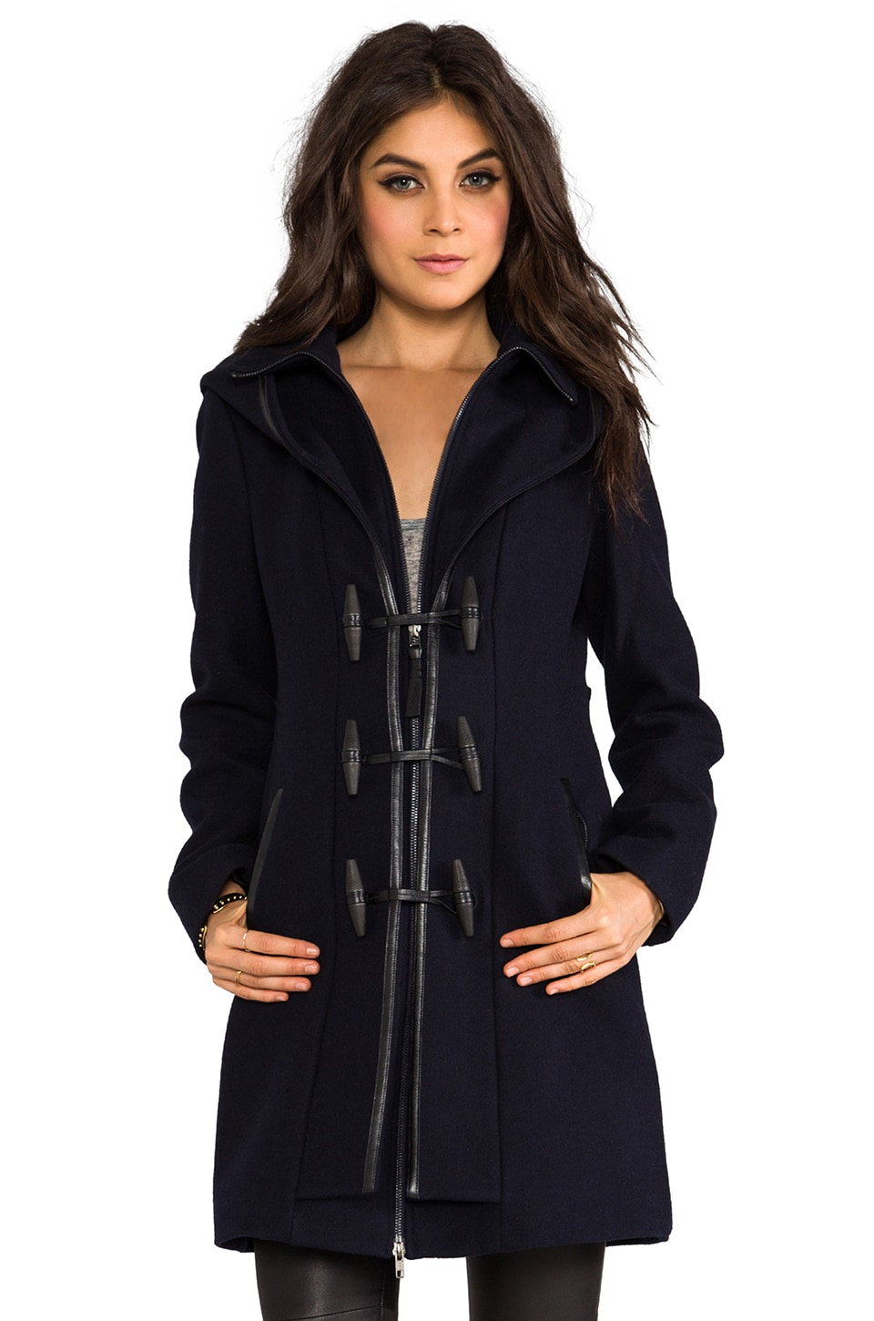 Mackage Steffy Flat Wool Coat in Navy