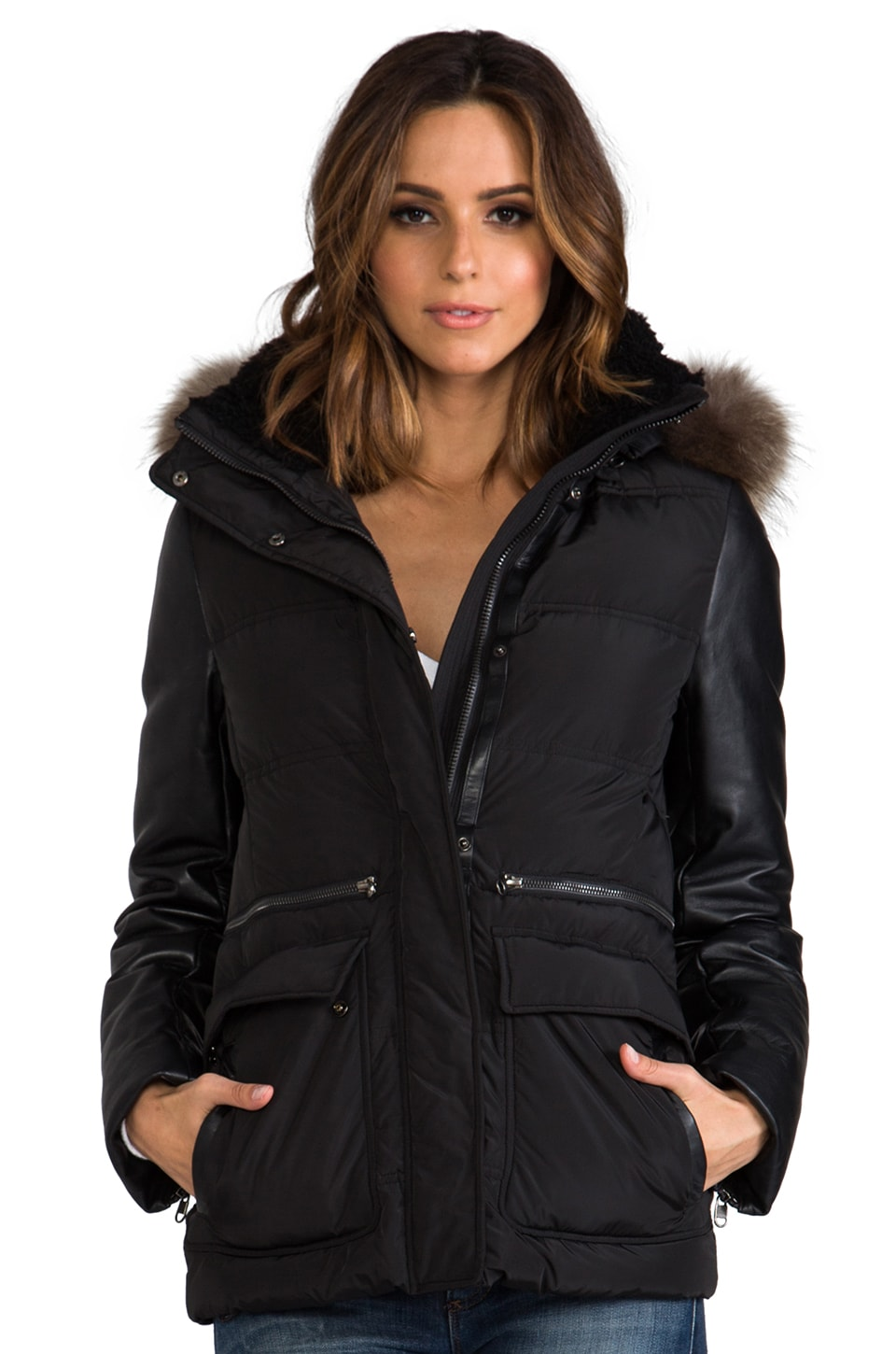 Mackage Alysha Peach Satin Down Jacket in Black