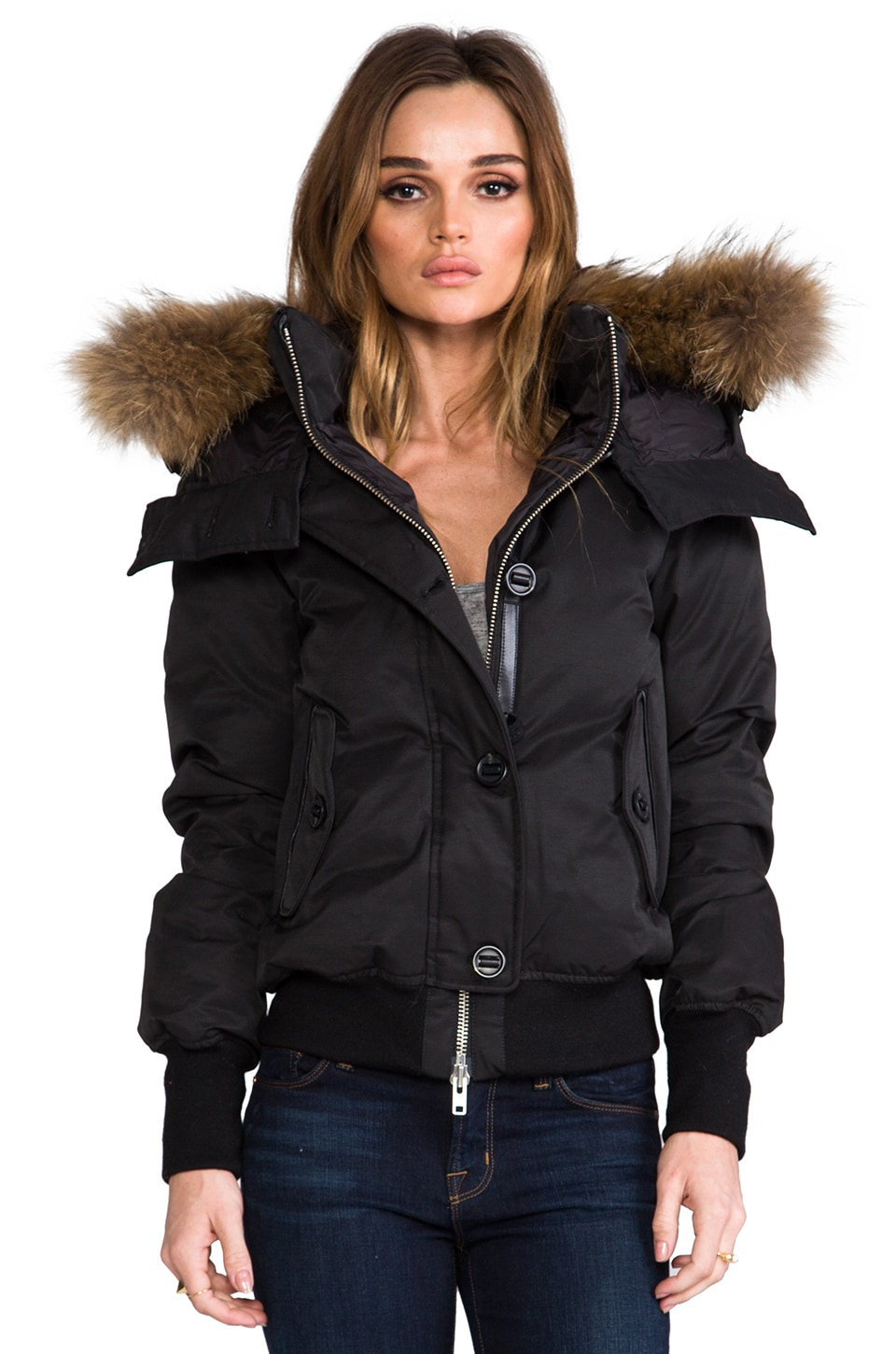 Mackage Valerie Peach Lux Down Jacket in Black