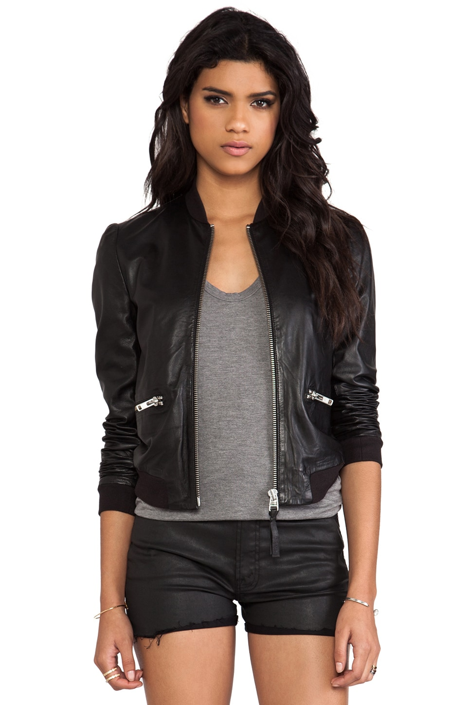 Mackage Skye Classic Leather Jacket in Black