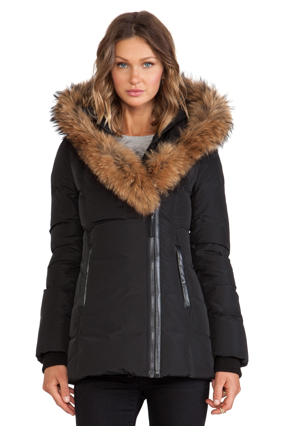 Mackage Adali Jacket With Real Natural Fur in Black