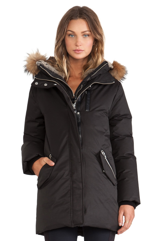 Mackage Marla Jacket with Asiatic Raccoon and Rabbit Fur Hood in Black