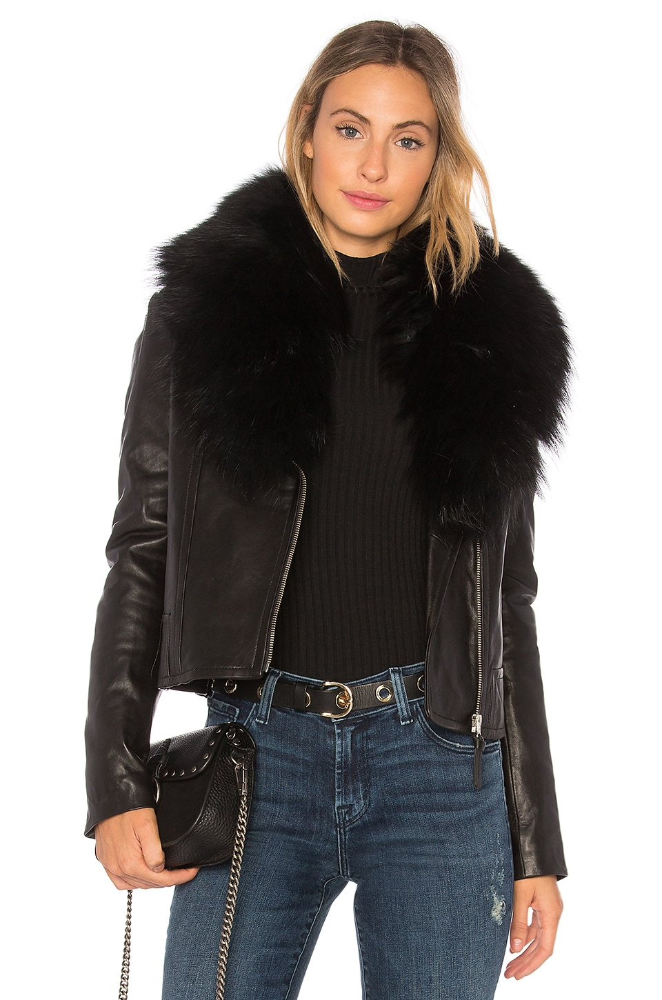 Mackage Yoana Leather Jacket With Fur Trim in Black